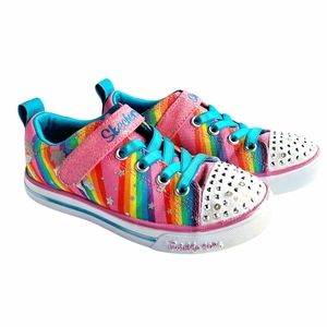 Skechers Girls' Twinkle Shoes Light Up Magical Rainbow Unicorn Sneakers- Size 12